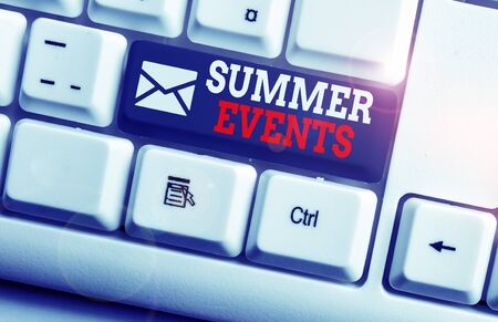 Conceptual hand writing showing Summer Events. Concept meaning Celebration Events that takes place during summertime White pc keyboard with note paper above the white background