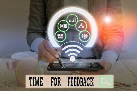Text sign showing Time For Feedback. Business photo showcasing information about reactions to a product or services Picture photo system network scheme modern technology smart device