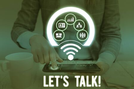 Conceptual hand writing showing Let S Talk. Concept meaning they are suggesting beginning conversation on specific topic Picture photo network scheme with modern smart device Stock fotó
