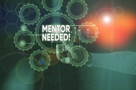 Handwriting text Mentor Needed. Conceptual photo Employee training under senior assigned act as advisor Picture photo system network scheme modern technology smart device