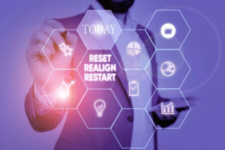 Text sign showing Reset Realign Restart. Business photo text Life audit will help you put things in perspectives Picture photo system network scheme modern technology smart device