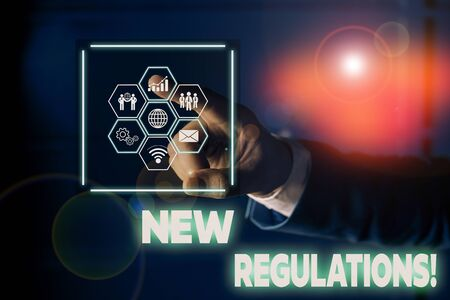 Conceptual hand writing showing New Regulations. Concept meaning rules made government order control something done Picture photo network scheme with modern smart device