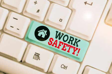 Text sign showing Work Safety. Business photo text policies and procedures in place to ensure health of employees White pc keyboard with empty note paper above white background key copy space
