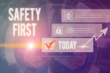 Text sign showing Safety First. Business photo text used to say that the most important thing is to be safe Picture photo system network scheme modern technology smart device 스톡 콘텐츠