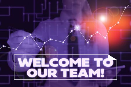 Text sign showing Welcome To Our Team. Business photo showcasing introducing another demonstrating to your team mates Woman wear formal work suit present presentation using smart latest device