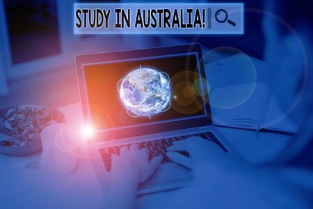 Text sign showing Study In Australia. Business photo showcasing going into foreign country order complete your studies Picture photo system network scheme modern technology smart device Zdjęcie Seryjne