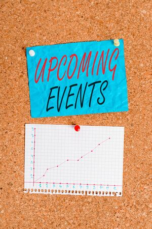 Writing note showing Upcoming Events. Business concept for the approaching planned public or social occasions Corkboard size paper thumbtack sheet billboard notice board Imagens