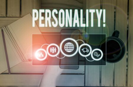 Word writing text Personality. Business photo showcasing combination characteristics that form individuals character Picture photo system network scheme modern technology smart device 免版税图像