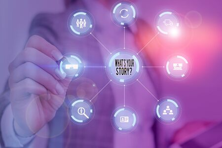 Text sign showing What S Your Story Question. Business photo text asking demonstrating about his past life actions career or events Picture photo system network scheme modern technology smart device