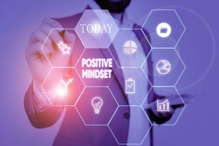 Text sign showing Positive Mindset. Business photo text mental attitude in wich you expect favorable results Picture photo system network scheme modern technology smart device