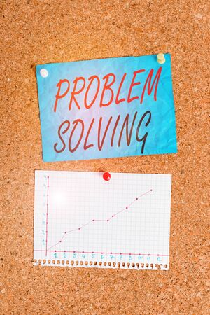Writing note showing Problem Solving. Business concept for process of finding solutions to difficult or complex issues Corkboard size paper thumbtack sheet billboard notice board