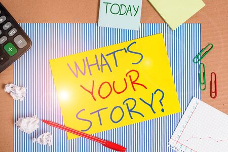 Word writing text What S Is Your Storyquestion. Business photo showcasing analysisner of asking demonstrating about past life events Striped paperboard notebook cardboard office study supplies chart paper