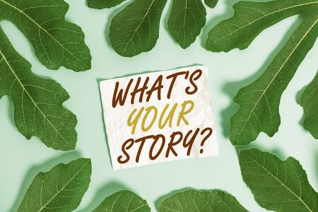Text sign showing What S Is Your Storyquestion. Business photo text analysisner of asking demonstrating about past life events Leaves surrounding notepaper above an empty soft pastel table as background Stock fotó