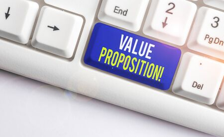 Word writing text Value Proposition. Business photo showcasing feature intended to make a company or product attractive White pc keyboard with empty note paper above white background key copy space