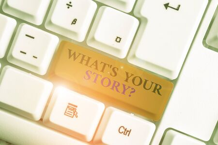Word writing text What S Is Your Storyquestion. Business photo showcasing analysisner of asking demonstrating about past life events White pc keyboard with empty note paper above white background key copy space Stock fotó