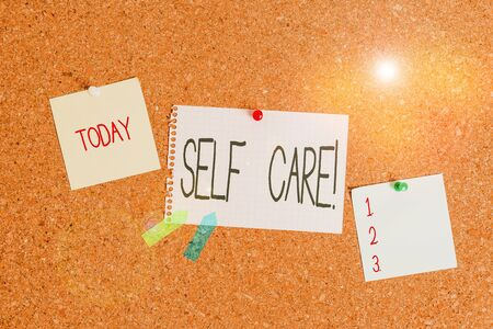 Conceptual hand writing showing Self Care. Concept meaning practice of taking action to preserve or improve ones own health Corkboard size paper thumbtack sheet billboard notice board