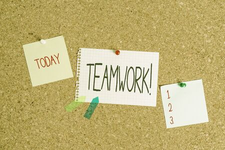Conceptual hand writing showing Teamwork. Concept meaning combined action of group especially when effective and efficient Corkboard size paper thumbtack sheet billboard notice board