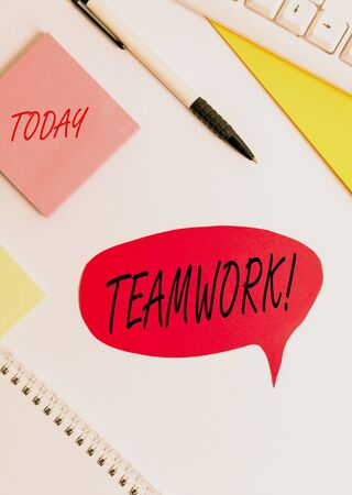 Word writing text Teamwork. Business photo showcasing combined action of group especially when effective and efficient Red bubble copy space paper on the table Zdjęcie Seryjne