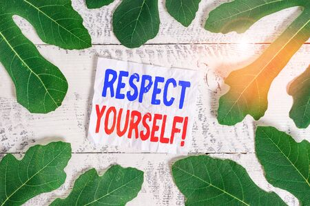 Text sign showing Respect Yourself. Business photo showcasing believing that you good and worthy being treated well Leaves surrounding notepaper above a classic wooden table as the background Stock Photo