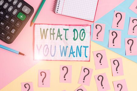 Handwriting text What Do You Want. Conceptual photo used for offering something to someone or asking their need Mathematics stuff and writing equipment above pastel colours background Banco de Imagens