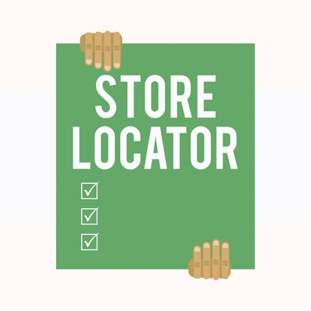 Writing note showing Store Locator. Business concept for to know the address contact number and operating hours Two hands holding big blank rectangle up down Geometrical background