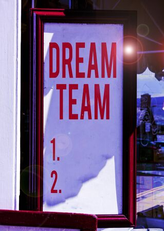 Handwriting text Dream Team. Conceptual photo Prefered unit or group that make the best out of a demonstrating Empty white board with copy space for advertising. Blank white space for text adding Stock Photo