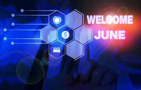 Word writing text Welcome June. Business photo showcasing Calendar Sixth Month Second Quarter Thirty days Greetings Woman wear formal work suit presenting presentation using smart device