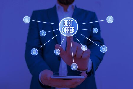 Text sign showing Best Offer. Business photo showcasing To convince someone by rendering all the greatness you can give Male human wear formal work suit presenting presentation using smart device