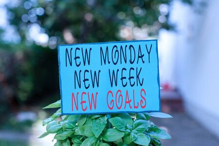 Text sign showing New Monday New Week New Goals. Business photo text showcasing next week resolutions To do list Plain empty paper attached to a stick and placed in the green leafy plants