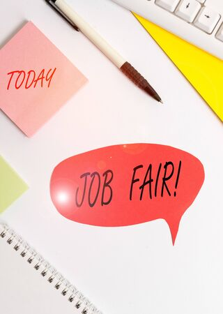 Word writing text Job Fair. Business photo showcasing event in which employers recruiters give information to employees Red bubble copy space paper on the table