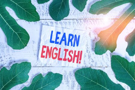 Text sign showing Learn English. Business photo showcasing gain acquire knowledge in new language by study Leaves surrounding notepaper above a classic wooden table as the background