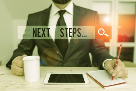 Word writing text Next Steps. Business photo showcasing something you do or plan after you ve finished something else Male human wear formal clothes present presentation use hi tech smartphone