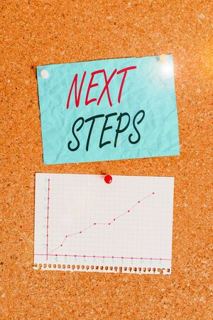 Writing note showing Next Steps. Business concept for something you do or plan after you ve finished something else Corkboard size paper thumbtack sheet billboard notice board 写真素材