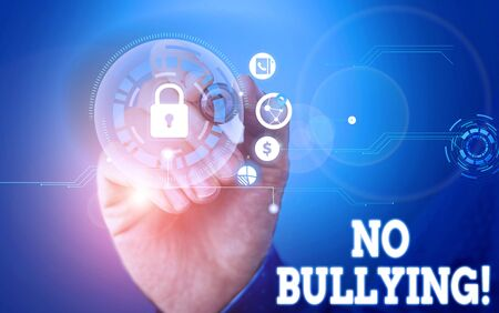 Text sign showing No Bullying. Business photo showcasing stop aggressive behavior among children power imbalance Picture photo system network scheme modern technology smart device