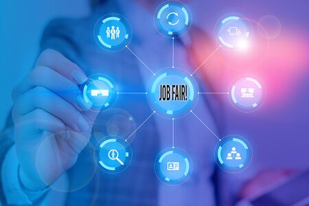 Text sign showing Job Fair. Business photo text event in which employers recruiters give information to employees Picture photo system network scheme modern technology smart device Stock Photo