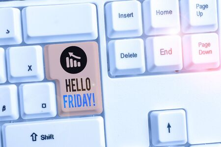 Handwriting text writing Hello Friday. Conceptual photo used to express happiness from beginning of fresh week White pc keyboard with empty note paper above white background key copy space