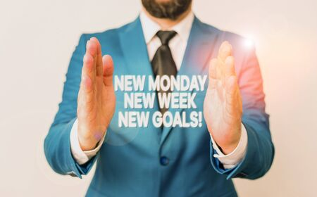 Word writing text New Monday New Week New Goals. Business photo showcasing goodbye weekend starting fresh goals targets Man with opened hands in fron of the table. Mobile phone and notes on the table