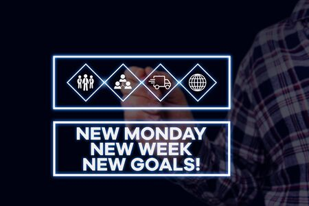 Text sign showing New Monday New Week New Goals. Business photo showcasing goodbye weekend starting fresh goals targets Picture photo system network scheme modern technology smart device