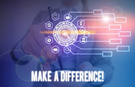 Conceptual hand writing showing Make A Difference. Concept meaning have significant effect or non on demonstrating or situation Picture photo network scheme with modern smart device
