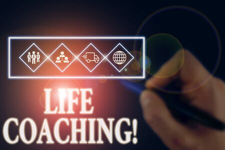 Writing note showing Life Coaching. Business concept for demonstrating employed to help showing attain their goals in career Picture photo network scheme with modern smart device Stock Photo