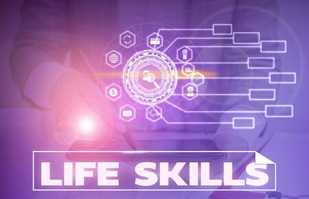 Word writing text Life Skills. Business photo showcasing skill that is necessary for full participation in everyday life Picture photo system network scheme modern technology smart device Foto de archivo - 135338705