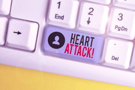 Word writing text Heart Attack. Business photo showcasing sudden occurrence of coronary thrombosis resulting in death White pc keyboard with empty note paper above white background key copy space
