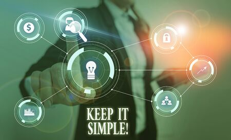 Text sign showing Keep It Simple. Business photo text ask something easy understand not go into too much detail Woman wear formal work suit presenting presentation using smart device