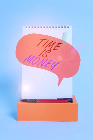 Word writing text Time Is Money. Business photo showcasing time is a valuable resource Do things as quickly as possible Notepad box speech bubble arrow banners ballpoint cool pastel background Archivio Fotografico