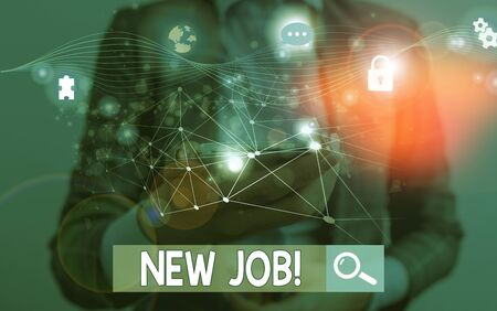 Text sign showing New Job. Business photo showcasing recently having paid position of regular employment Picture photo system network scheme modern technology smart device
