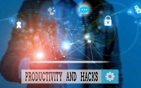 Word writing text Productivity Hacks. Business photo showcasing tricks that you get more done in the same amount of time Picture photo system network scheme modern technology smart device