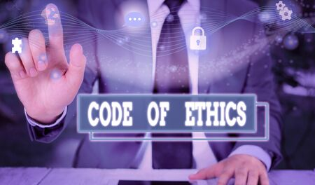 Text sign showing Code Of Ethics. Business photo showcasing basic guide for professional conduct and imposes duties Picture photo system network scheme modern technology smart device