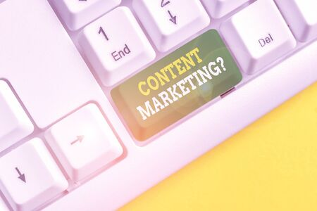 Writing note showing Content Marketing question. Business concept for involves creation and sharing of online material White pc keyboard with note paper above the white background