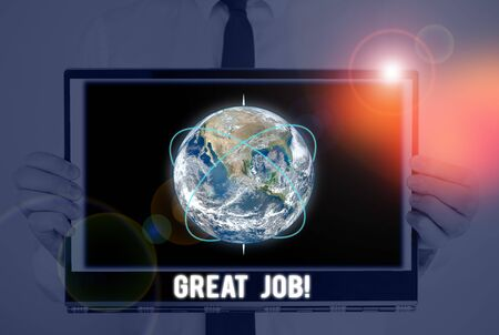 Word writing text Great Job. Business photo showcasing used praising someone for something they have done very well Picture photo system network scheme modern technology smart device and Elements of this image furnished by NASA