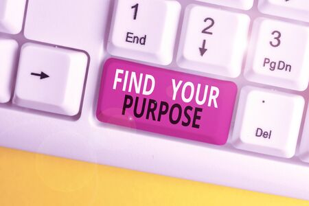 Text sign showing Find Your Purpose question. Business photo text reason for something is done or for which exists White pc keyboard with empty note paper above white background key copy space